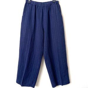 FLAX Wide Leg Cropped Elastic Waist Linen Pants